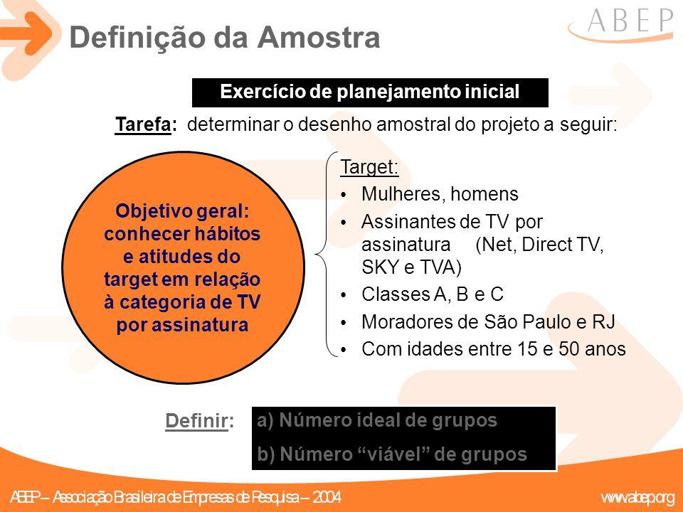 Objetivo geral: conhecer hábitos e atitudes do target em relação à categoria de TV por assinatura Exercício de planejamento inicial Tarefa: determinar