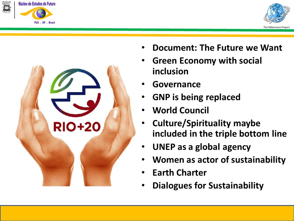 Document: The Future we Want Green Economy with social inclusion Governance GNP is being replaced World Council Culture/Spirituality maybe included in