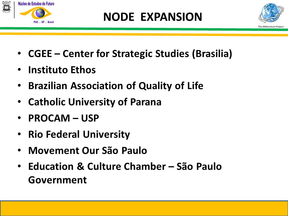 CGEE – Center for Strategic Studies (Brasilia) Instituto Ethos Brazilian Association of Quality of Life Catholic University of Parana PROCAM – USP Rio