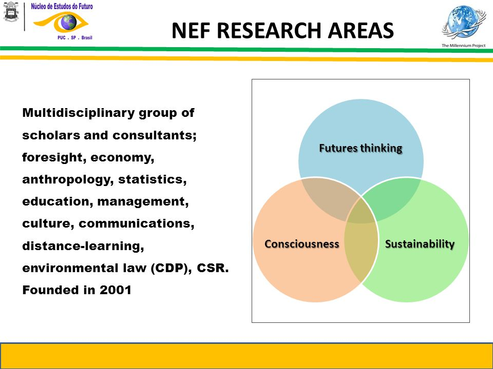 NEF RESEARCH AREAS Multidisciplinary group of scholars and consultants; foresight, economy, anthropology, statistics, education, management, culture, communications, distance-learning, environmental law (CDP), CSR.