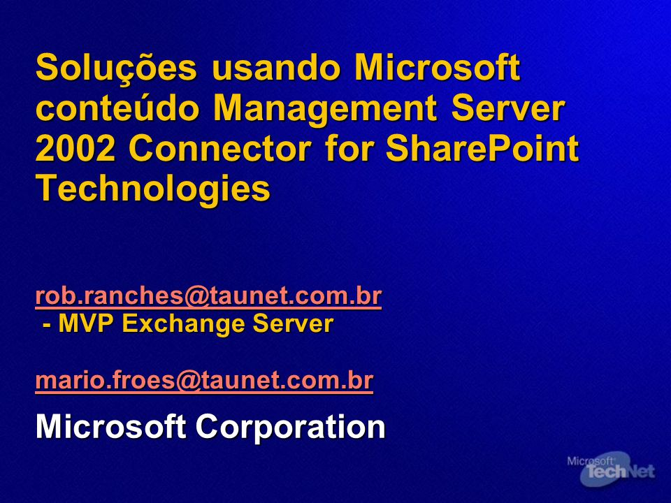 Configurando o ambiente MCMS /SPS Connector Deployment Scenarios SQL Database Small Server Farm SPS MCMS Connector for SharePoint Technologies Web front end Index Job busca MCMS MCMS Connector for SharePoint Technologies