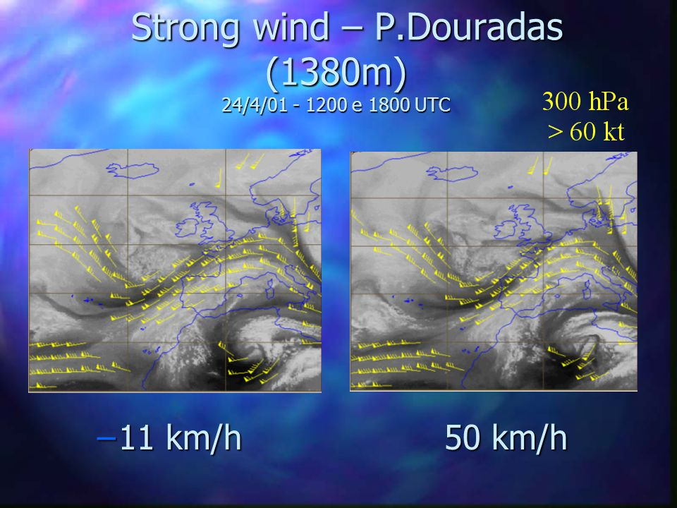 Strong wind – P.Douradas (1380m) 24/4/01 - 1200 e 1800 UTC Strong wind – P.Douradas (1380m) 24/4/01 - 1200 e 1800 UTC –11 km/h 50 km/h