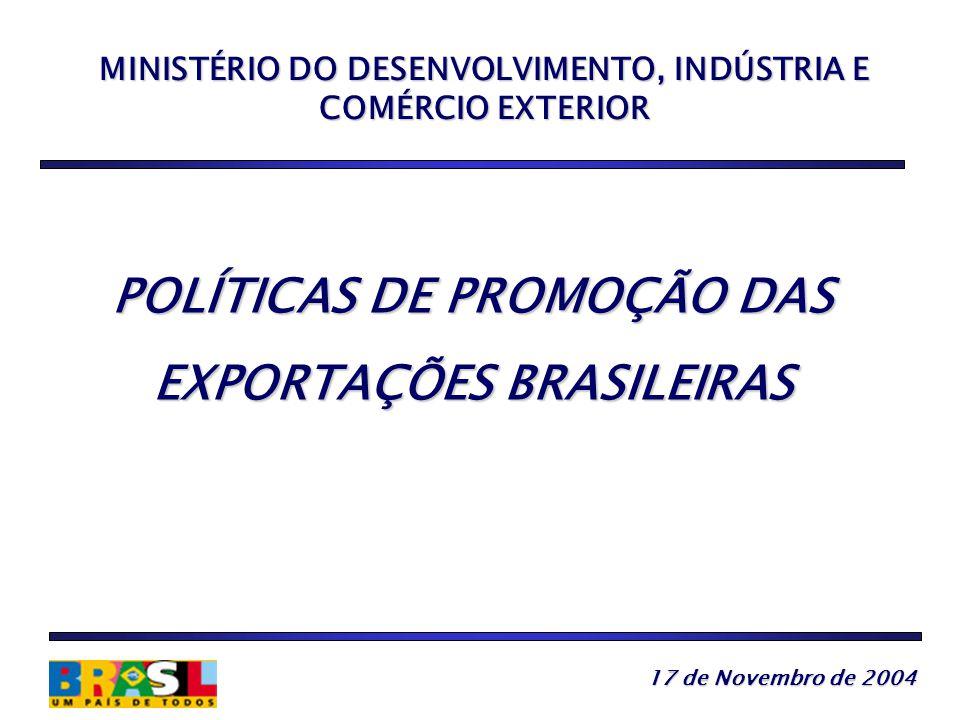 MINISTÉRIO DO DESENVOLVIMENTO, INDÚSTRIA E COMÉRCIO EXTERIOR POLÍTICAS DE PROMOÇÃO DAS EXPORTAÇÕES BRASILEIRAS 17 de Novembro de 2004 17 de Novembro de 2004