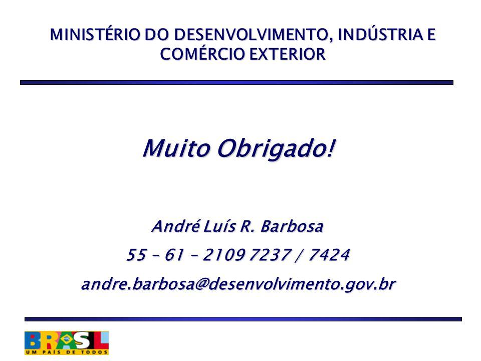 MINISTÉRIO DO DESENVOLVIMENTO, INDÚSTRIA E COMÉRCIO EXTERIOR Muito Obrigado.