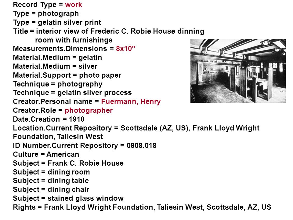Record Type = work Type = photograph Type = gelatin silver print Title = interior view of Frederic C.