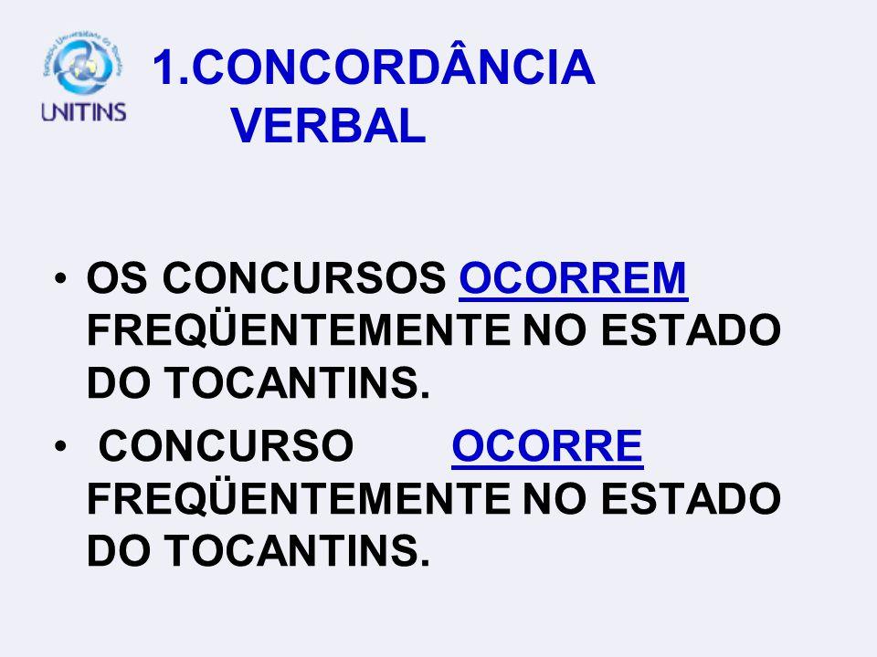 NORMAS E USOS DO PORTUGUÊS PADRÃO 1. CONCORDÂNCIA VERBAL; 2.