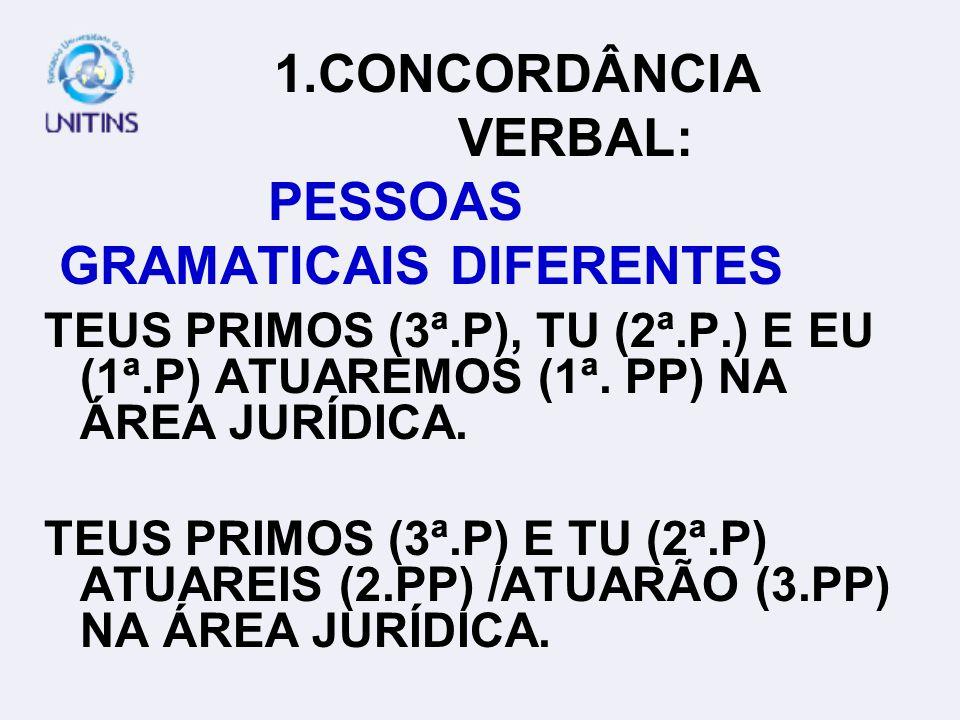 1.CONCORDÂNCIA VERBAL: SUJEITO COMPOSTO DEPOIS DO VERBO OCORRE CONCURSO E SELEÇÃO FREQÜENTEMENTE NO ESTADO DO TOCANTINS.