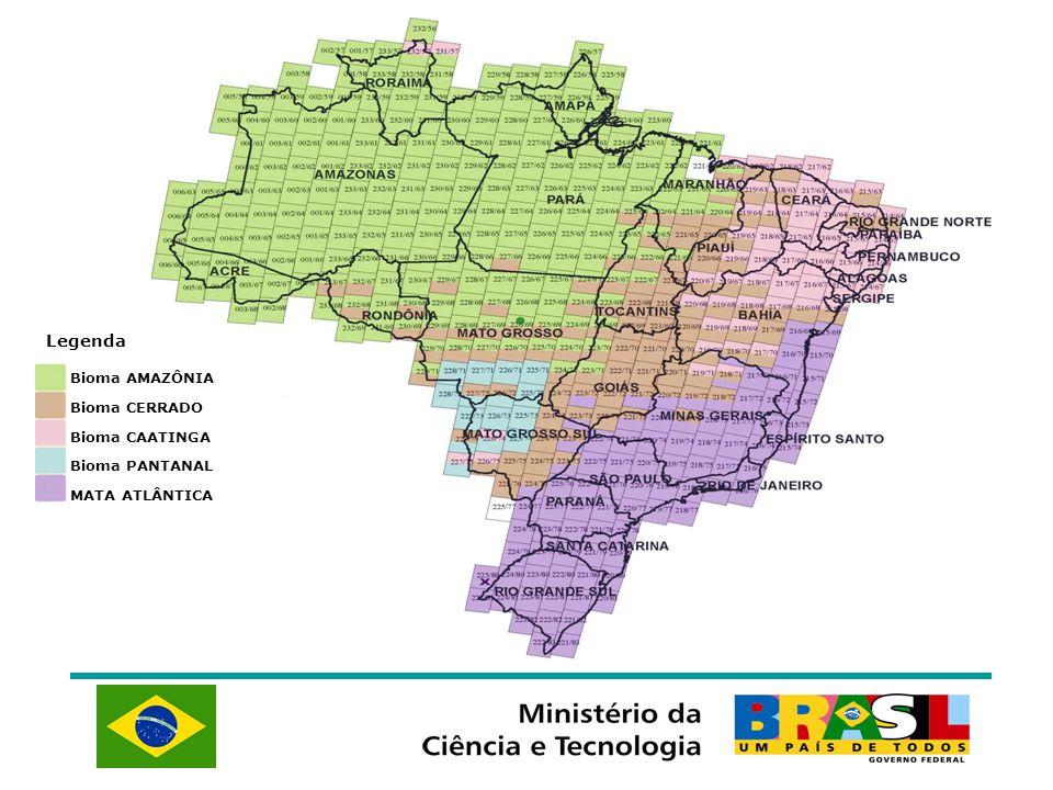 Bioma AMAZÔNIA Bioma CERRADO Bioma CAATINGA Bioma PANTANAL MATA ATLÂNTICA Legenda