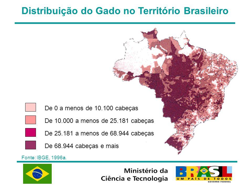Distribuição do Gado no Território Brasileiro Fonte: IBGE, 1996a. De 0 a menos de 10.100 cabeças De 10.000 a menos de 25.181 cabeças De 25.181 a menos