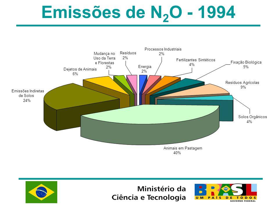 Emissões de N 2 O - 1994 Energia 2% Animais em Pastagem 40% Dejetos de Animais 6% Emissões Indiretas de Solos 24% Mudança no Uso da Terra e Florestas