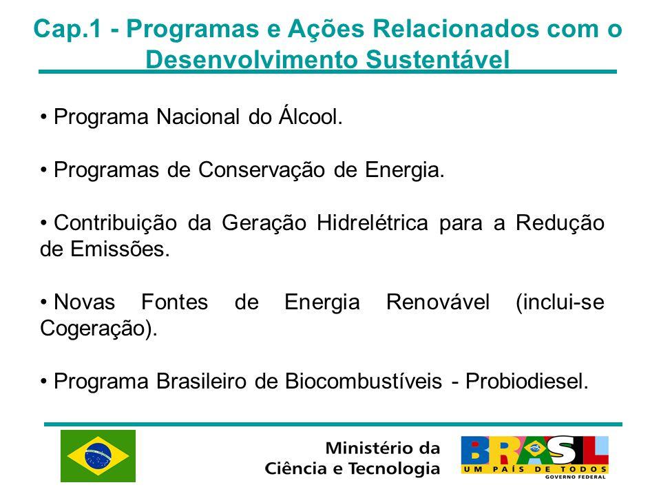Cap.1 - Programas e Ações Relacionados com o Desenvolvimento Sustentável Programa Nacional do Álcool. Programas de Conservação de Energia. Contribuiçã