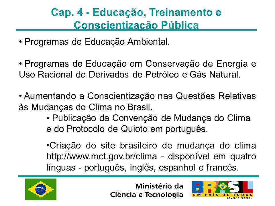 Cap. 4 - Educação, Treinamento e Conscientização Pública Programas de Educação Ambiental. Programas de Educação em Conservação de Energia e Uso Racion