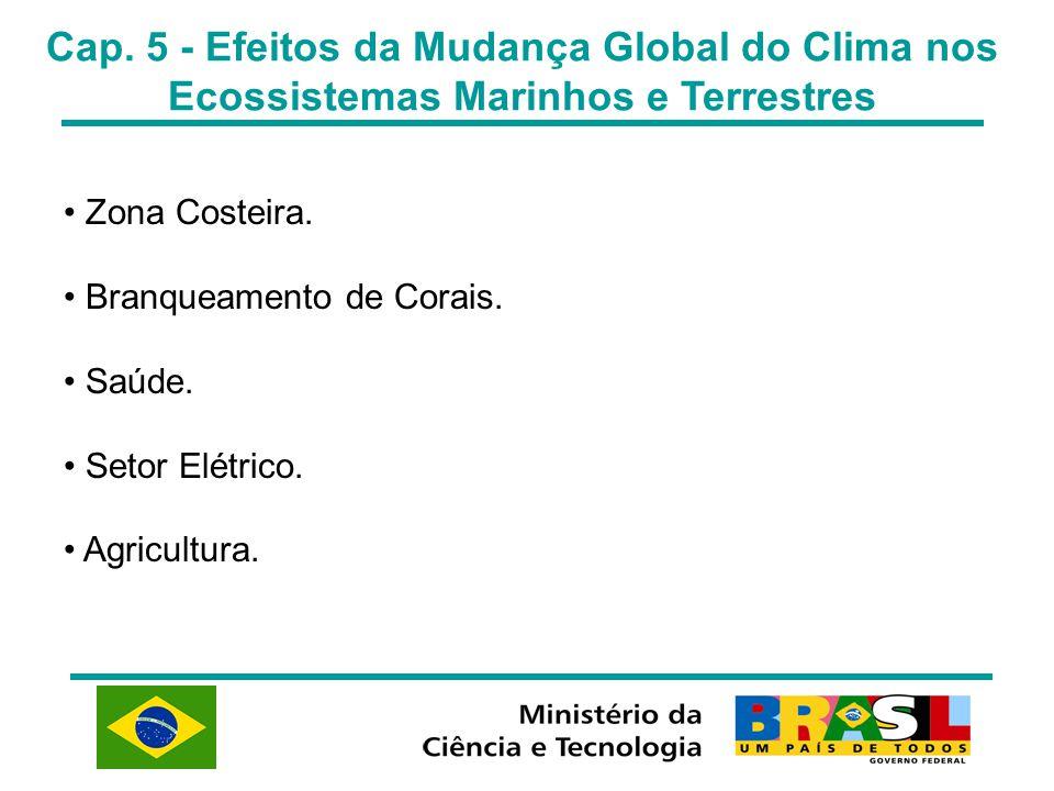 Cap. 5 - Efeitos da Mudança Global do Clima nos Ecossistemas Marinhos e Terrestres Zona Costeira. Branqueamento de Corais. Saúde. Setor Elétrico. Agri