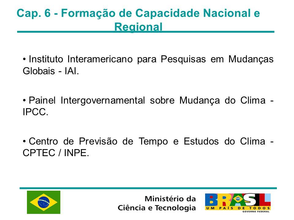 Cap. 6 - Formação de Capacidade Nacional e Regional Instituto Interamericano para Pesquisas em Mudanças Globais - IAI. Painel Intergovernamental sobre