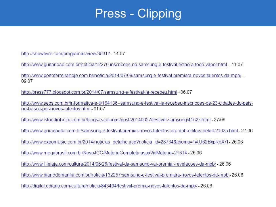 Press - Clipping http://showlivre.com/programas/view/35317http://showlivre.com/programas/view/35317 - 14.07 http://www.guitarload.com.br/noticia/12270