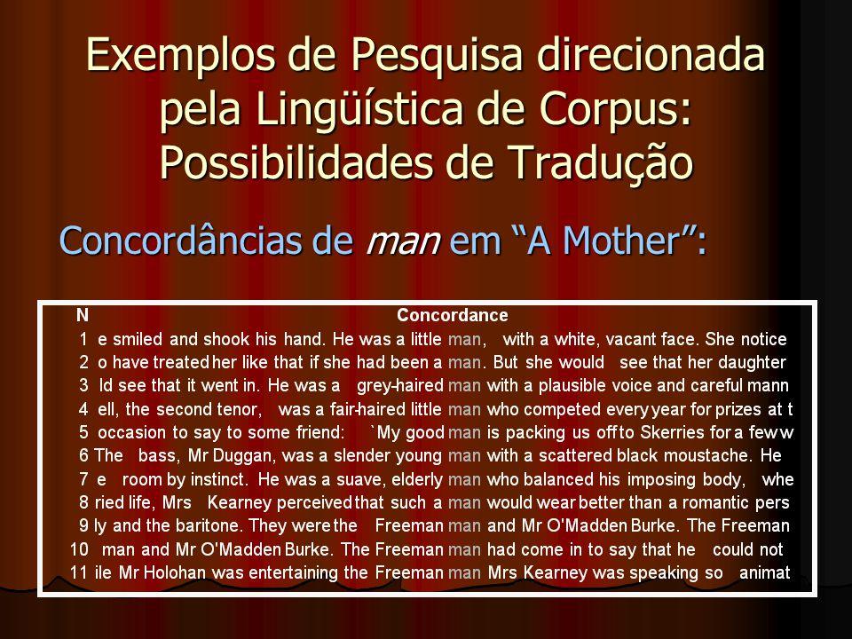 Exemplos de Pesquisa direcionada pela Lingüística de Corpus: Concordâncias com Mrs.