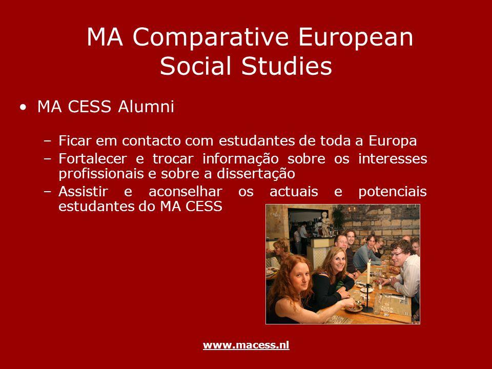 www.macess.nl MA Comparative European Social Studies MA CESS Alumni –Ficar em contacto com estudantes de toda a Europa –Fortalecer e trocar informação