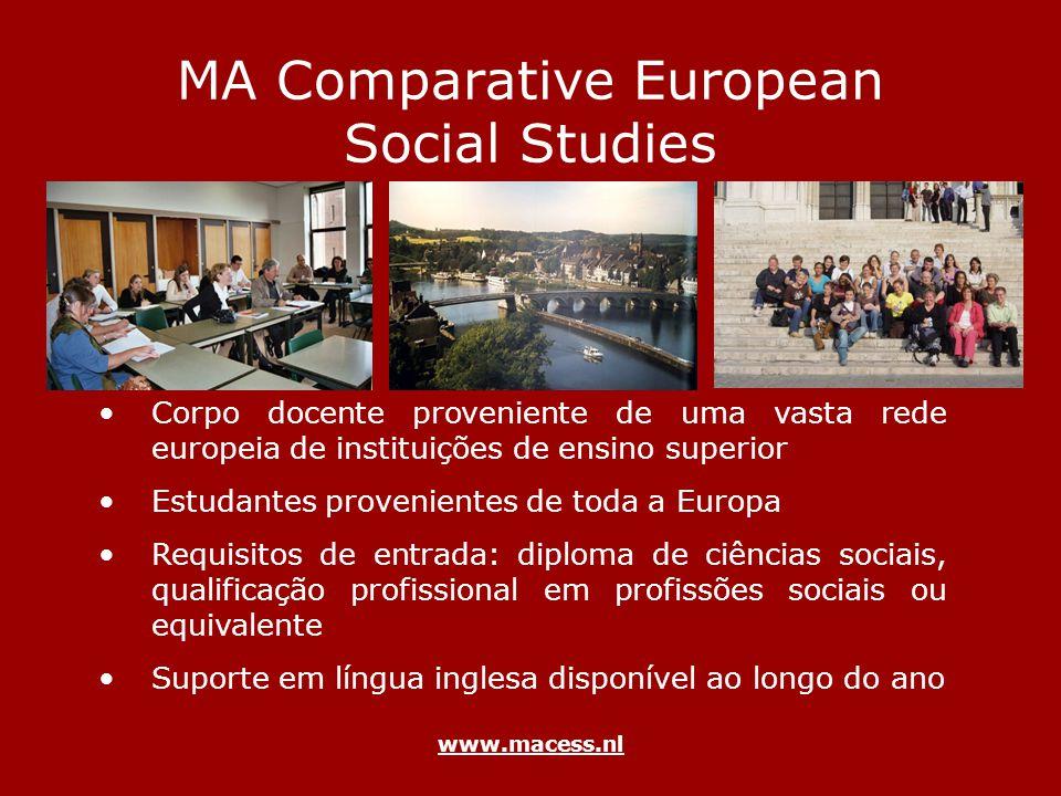 www.macess.nl MA Comparative European Social Studies Corpo docente proveniente de uma vasta rede europeia de instituições de ensino superior Estudante