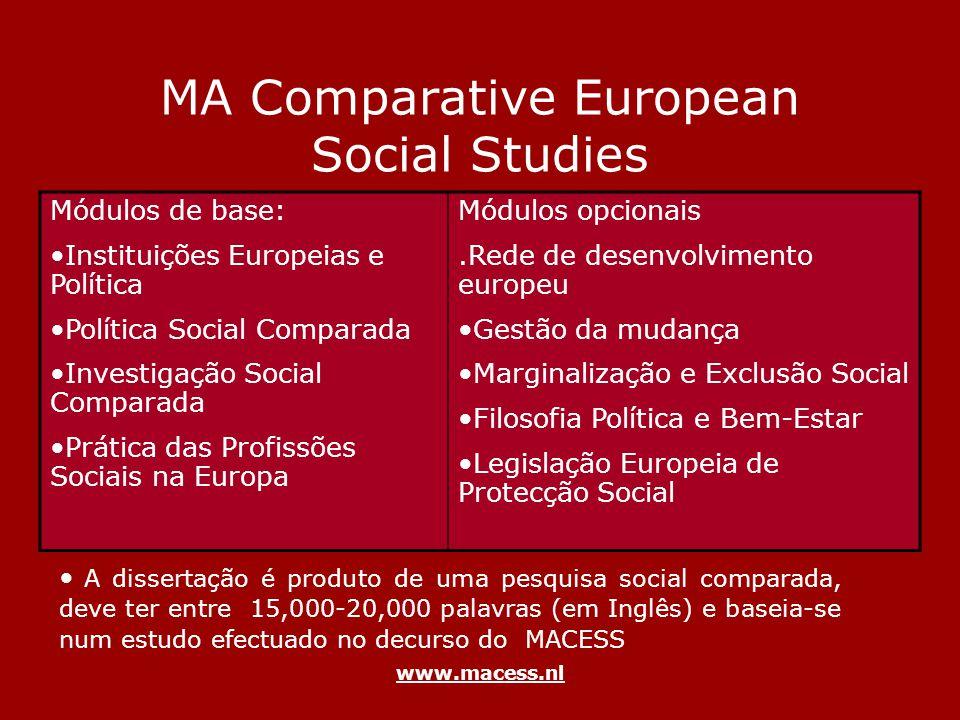www.macess.nl MA Comparative European Social Studies Módulos de base: Instituições Europeias e Política Política Social Comparada Investigação Social