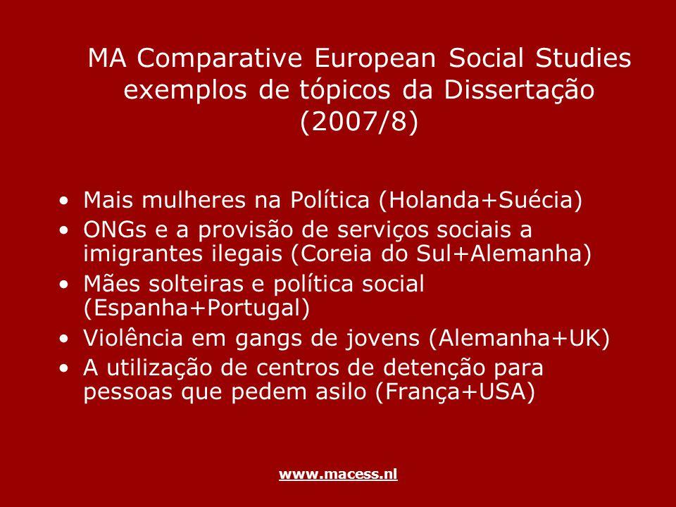 www.macess.nl MA Comparative European Social Studies exemplos de tópicos da Dissertação (2007/8) Mais mulheres na Política (Holanda+Suécia) ONGs e a p