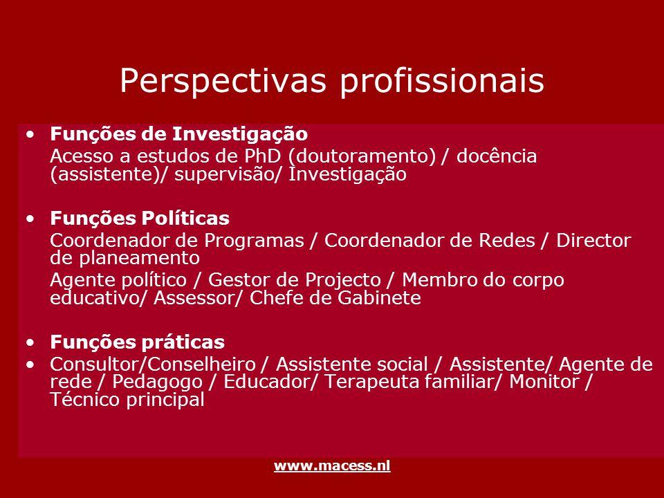 www.macess.nl Perspectivas profissionais Funções de Investigação Acesso a estudos de PhD (doutoramento) / docência (assistente)/ supervisão/ Investiga