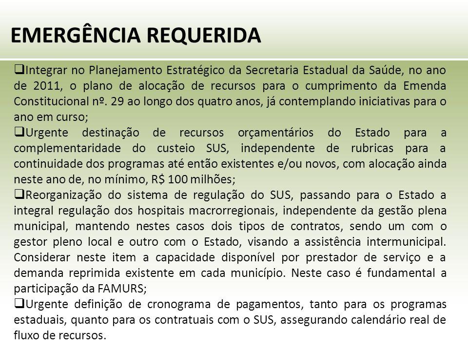 EMERGÊNCIA REQUERIDA  Integrar no Planejamento Estratégico da Secretaria Estadual da Saúde, no ano de 2011, o plano de alocação de recursos para o cumprimento da Emenda Constitucional nº.
