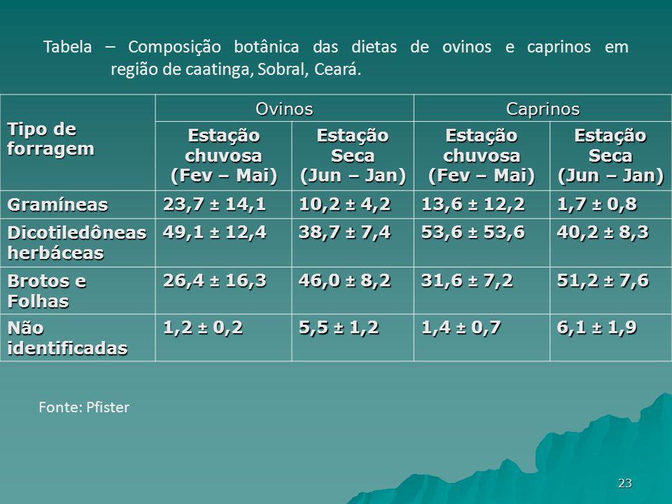 Tipo de forragem OvinosCaprinos Estação chuvosa (Fev – Mai) Estação Seca (Jun – Jan) Estação chuvosa (Fev – Mai) Estação Seca (Jun – Jan) Gramíneas 23,7 ± 14,1 10,2 ± 4,2 13,6 ± 12,2 1,7 ± 0,8 Dicotiledôneas herbáceas 49,1 ± 12,4 38,7 ± 7,4 53,6 ± 53,6 40,2 ± 8,3 Brotos e Folhas 26,4 ± 16,3 46,0 ± 8,2 31,6 ± 7,2 51,2 ± 7,6 Não identificadas 1,2 ± 0,2 5,5 ± 1,2 1,4 ± 0,7 6,1 ± 1,9 Tabela – Composição botânica das dietas de ovinos e caprinos em região de caatinga, Sobral, Ceará.