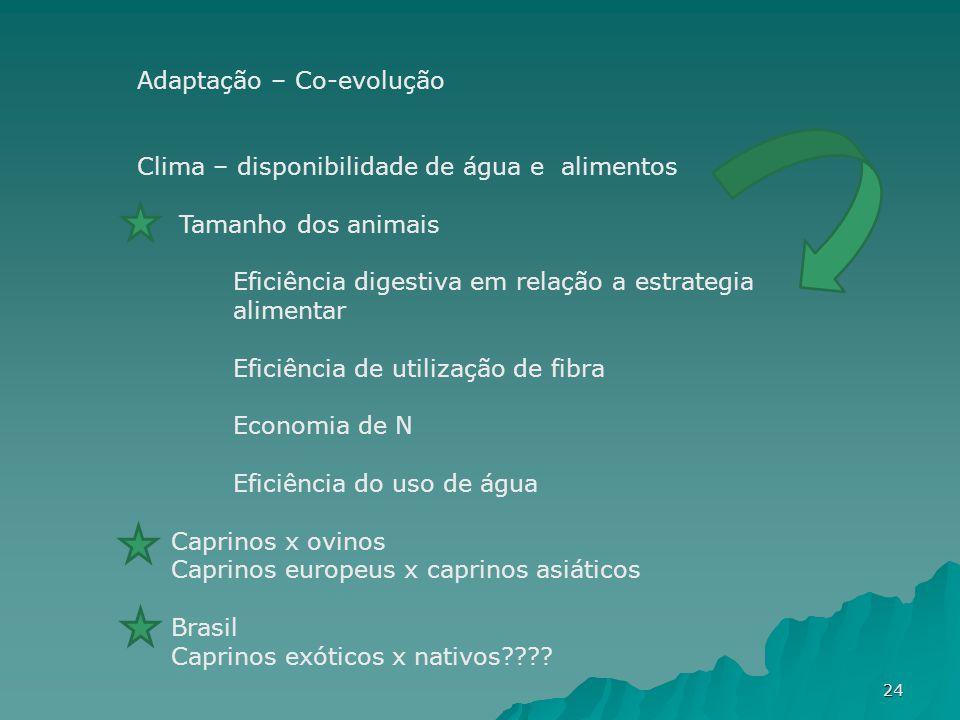 Adaptação – Co-evolução Clima – disponibilidade de água e alimentos Tamanho dos animais Eficiência digestiva em relação a estrategia alimentar Eficiên