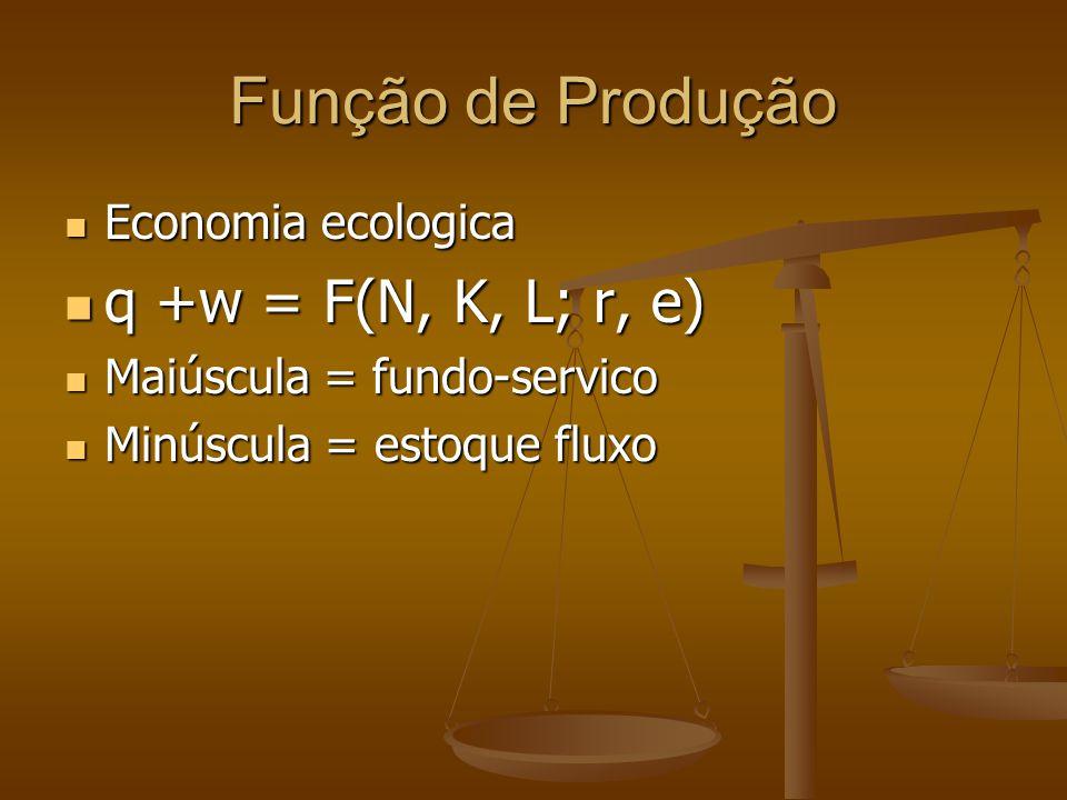 Função de Produção Economia ecologica Economia ecologica q +w = F(N, K, L; r, e) q +w = F(N, K, L; r, e) Maiúscula = fundo-servico Maiúscula = fundo-s