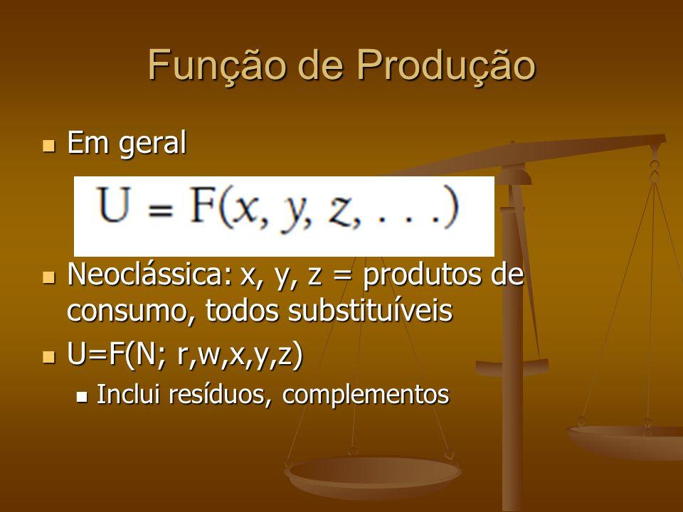 Função de Produção Em geral Em geral Neoclássica: x, y, z = produtos de consumo, todos substituíveis Neoclássica: x, y, z = produtos de consumo, todos