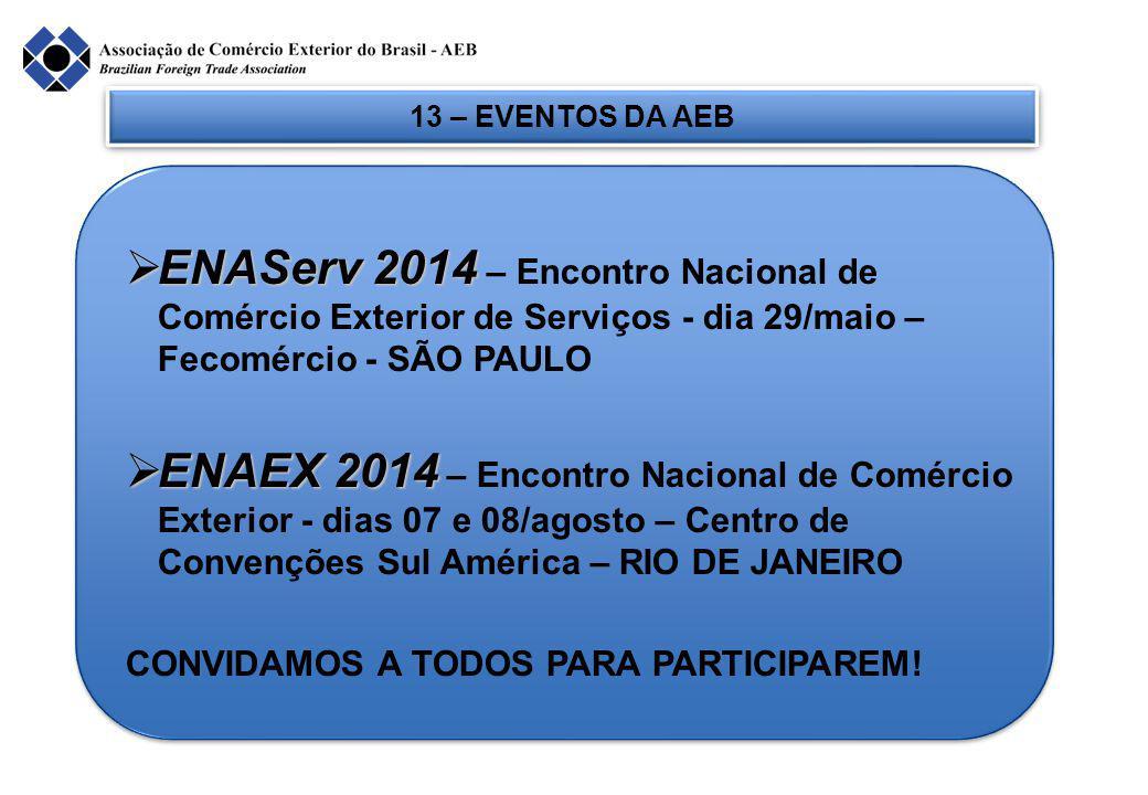 13 – EVENTOS DA AEB  ENAServ 2014  ENAServ 2014 – Encontro Nacional de Comércio Exterior de Serviços - dia 29/maio – Fecomércio - SÃO PAULO  ENAEX 2014  ENAEX 2014 – Encontro Nacional de Comércio Exterior - dias 07 e 08/agosto – Centro de Convenções Sul América – RIO DE JANEIRO CONVIDAMOS A TODOS PARA PARTICIPAREM!