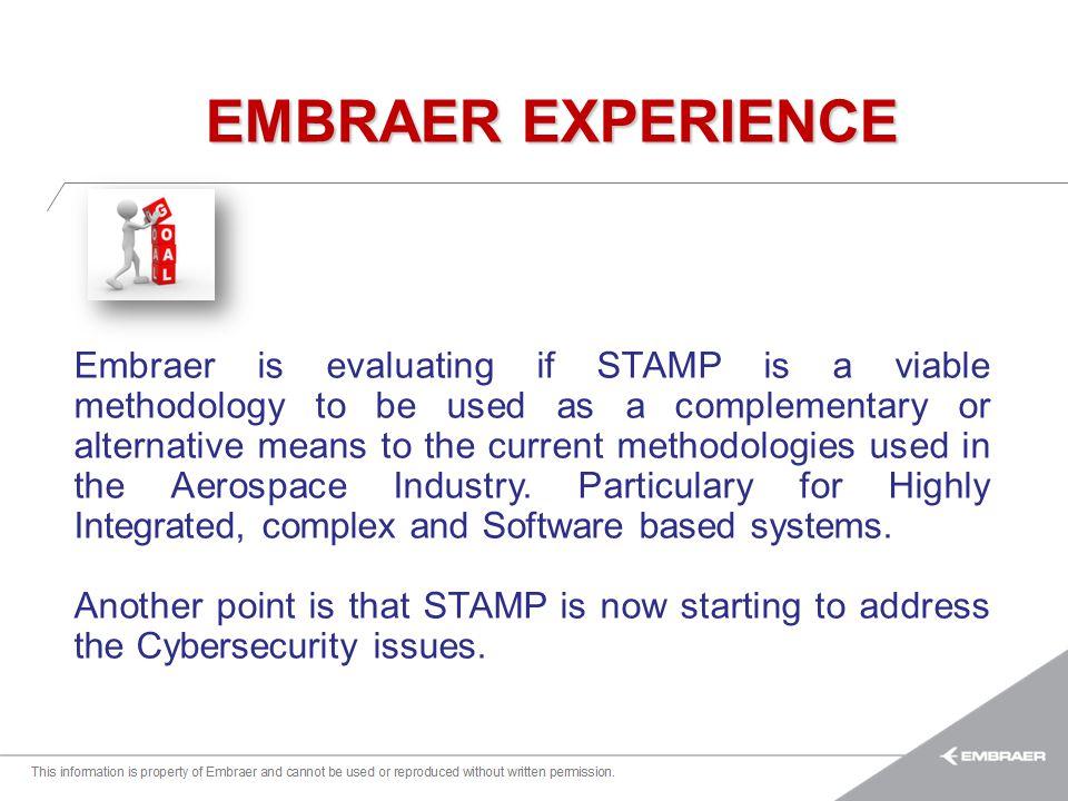 Esta informação é propriedade da Embraer e não pode ser usada ou reproduzida sem autorização por escrito. Embraer is evaluating if STAMP is a viable m