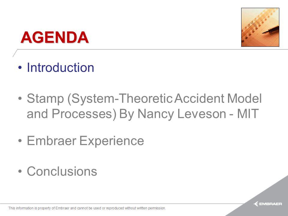 Esta informação é propriedade da Embraer e não pode ser usada ou reproduzida sem autorização por escrito. AGENDA Introduction Stamp (System-Theoretic