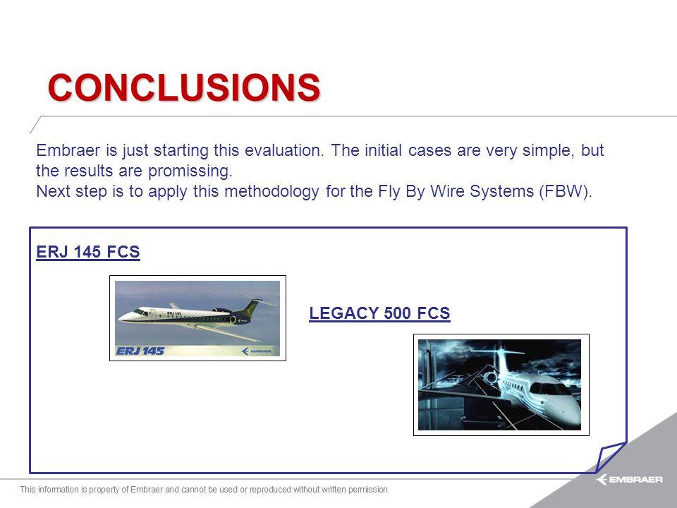 Esta informação é propriedade da Embraer e não pode ser usada ou reproduzida sem autorização por escrito. CONCLUSIONS Embraer is just starting this ev