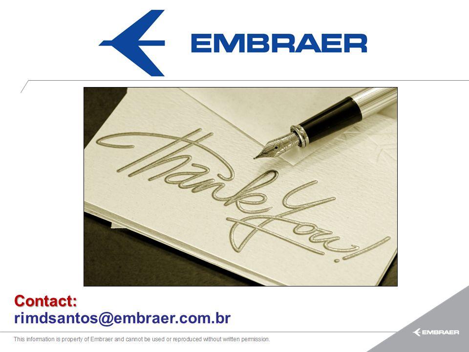 Esta informação é propriedade da Embraer e não pode ser usada ou reproduzida sem autorização por escrito. Contact: rimdsantos@embraer.com.br