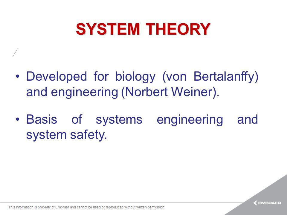 Esta informação é propriedade da Embraer e não pode ser usada ou reproduzida sem autorização por escrito. SYSTEM THEORY Developed for biology (von Ber
