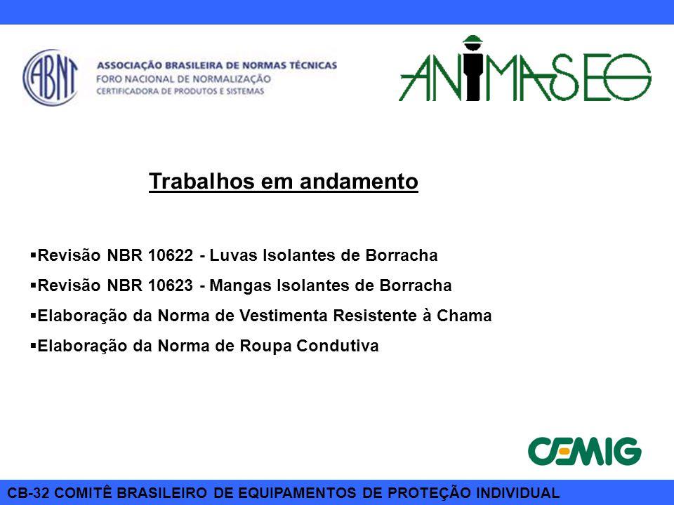 CB-32 COMITÊ BRASILEIRO DE EQUIPAMENTOS DE PROTEÇÃO INDIVIDUAL Trabalhos em andamento  Revisão NBR 10622 - Luvas Isolantes de Borracha  Revisão NBR