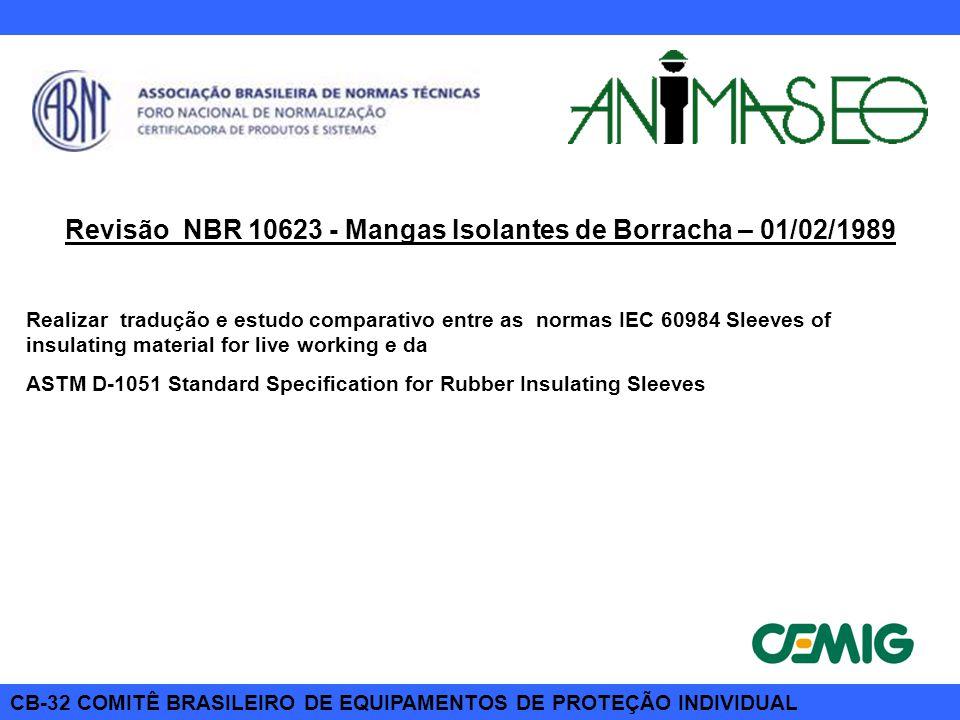 CB-32 COMITÊ BRASILEIRO DE EQUIPAMENTOS DE PROTEÇÃO INDIVIDUAL Revisão NBR 10623 - Mangas Isolantes de Borracha – 01/02/1989 Realizar tradução e estud