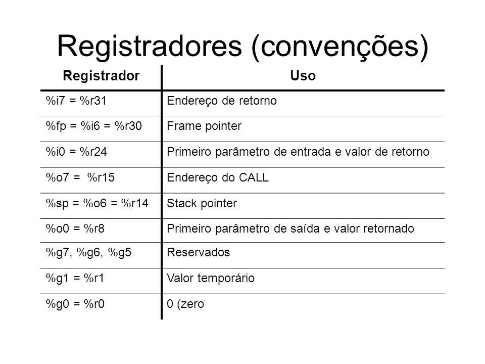 Registradores (convenções) RegistradorUso %i7 = %r31Endereço de retorno %fp = %i6 = %r30Frame pointer %i0 = %r24Primeiro parâmetro de entrada e valor de retorno %o7 = %r15Endereço do CALL %sp = %o6 = %r14Stack pointer %o0 = %r8Primeiro parâmetro de saída e valor retornado %g7, %g6, %g5Reservados %g1 = %r1Valor temporário %g0 = %r00 (zero