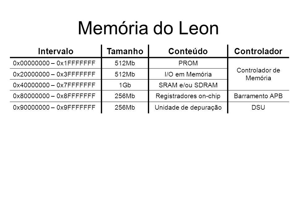 Memória do Leon IntervaloTamanhoConteúdoControlador 0x00000000 – 0x1FFFFFFF512MbPROM Controlador de Memória 0x20000000 – 0x3FFFFFFF512MbI/O em Memória 0x40000000 – 0x7FFFFFFF1GbSRAM e/ou SDRAM 0x80000000 – 0x8FFFFFFF256MbRegistradores on-chipBarramento APB 0x90000000 – 0x9FFFFFFF256MbUnidade de depuraçãoDSU