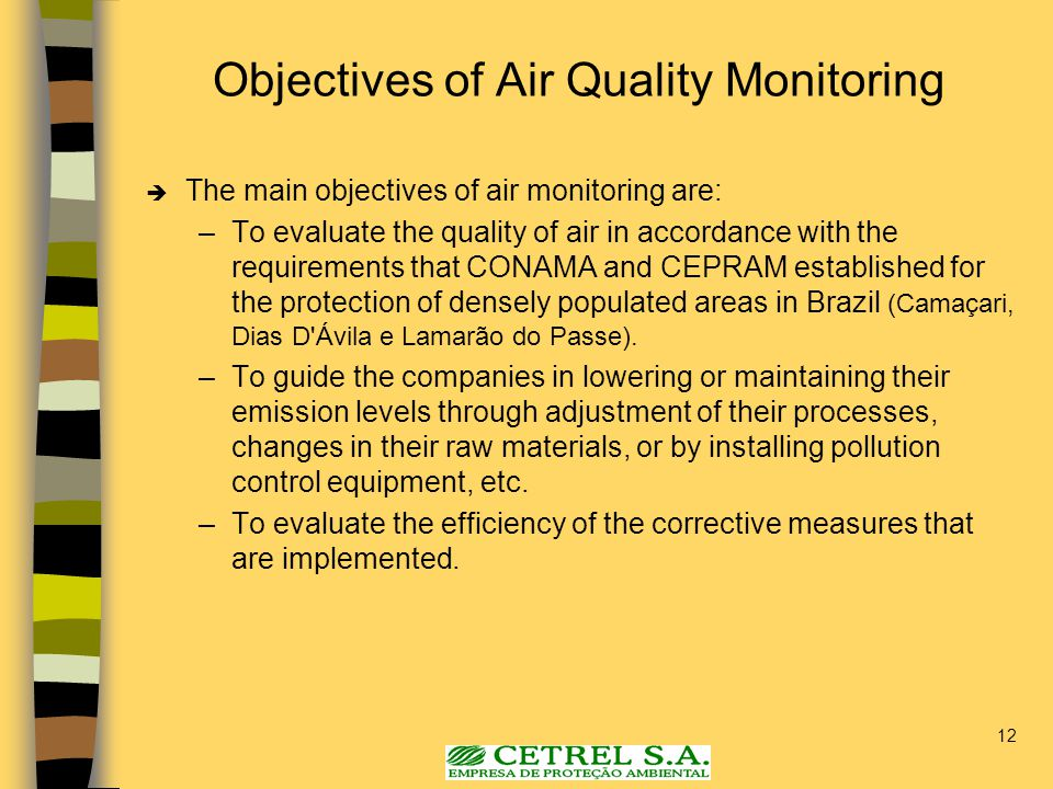 12 Objectives of Air Quality Monitoring  The main objectives of air monitoring are: –To evaluate the quality of air in accordance with the requiremen