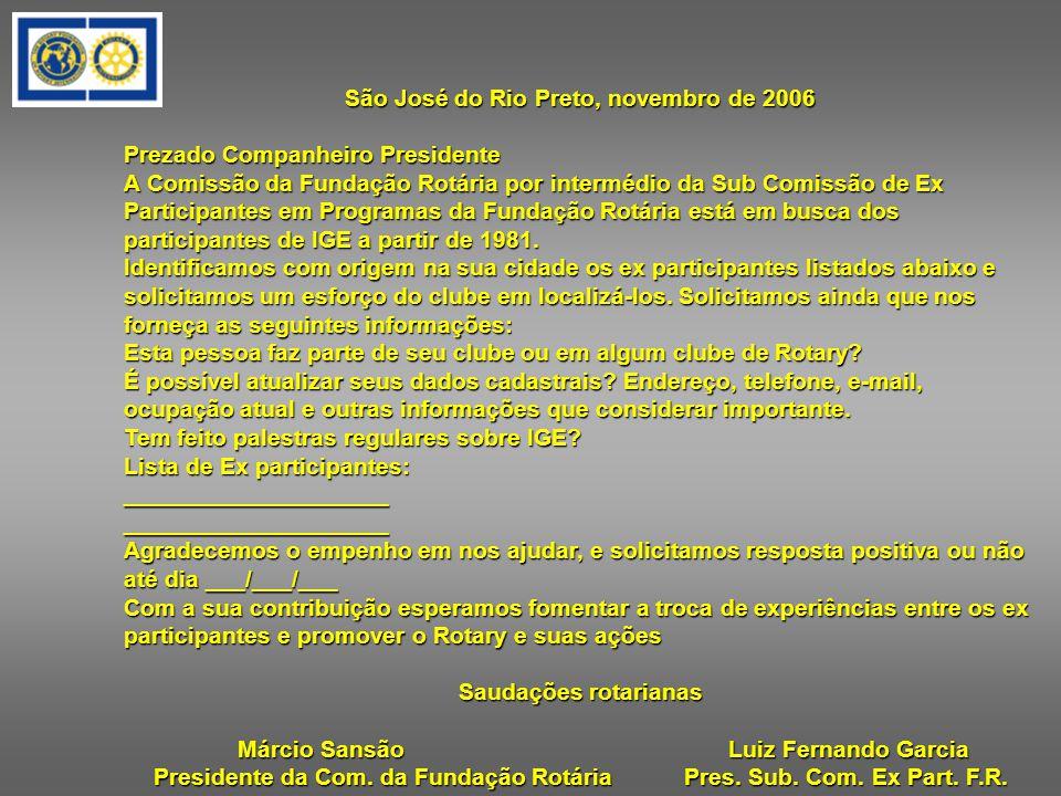 São José do Rio Preto, novembro de 2006 Prezado Companheiro Presidente A Comissão da Fundação Rotária por intermédio da Sub Comissão de Ex Participantes em Programas da Fundação Rotária está em busca dos participantes de IGE a partir de 1981.