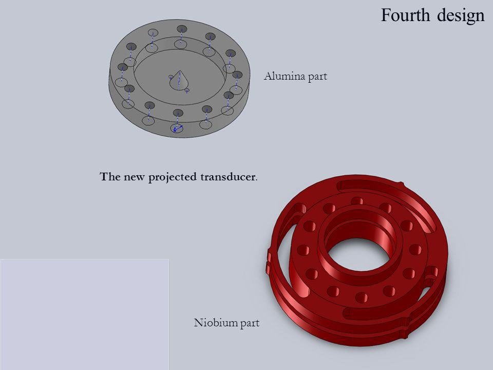 Alumina part The new projected transducer. Niobium part Fourth design