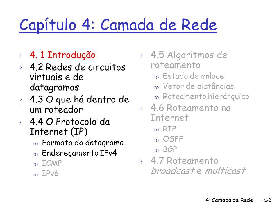 4: Camada de Rede 4a-2 Capítulo 4: Camada de Rede r 4.5 Algoritmos de roteamento m Estado de enlace m Vetor de distâncias m Roteamento hierárquico r 4