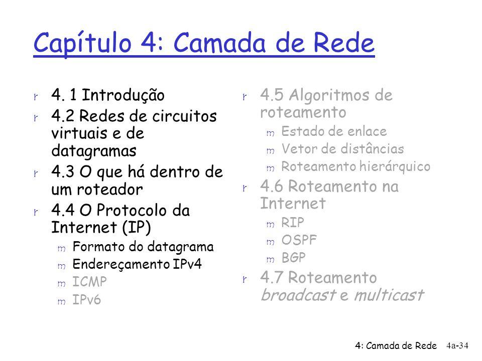 4: Camada de Rede 4a-34 Capítulo 4: Camada de Rede r 4.5 Algoritmos de roteamento m Estado de enlace m Vetor de distâncias m Roteamento hierárquico r