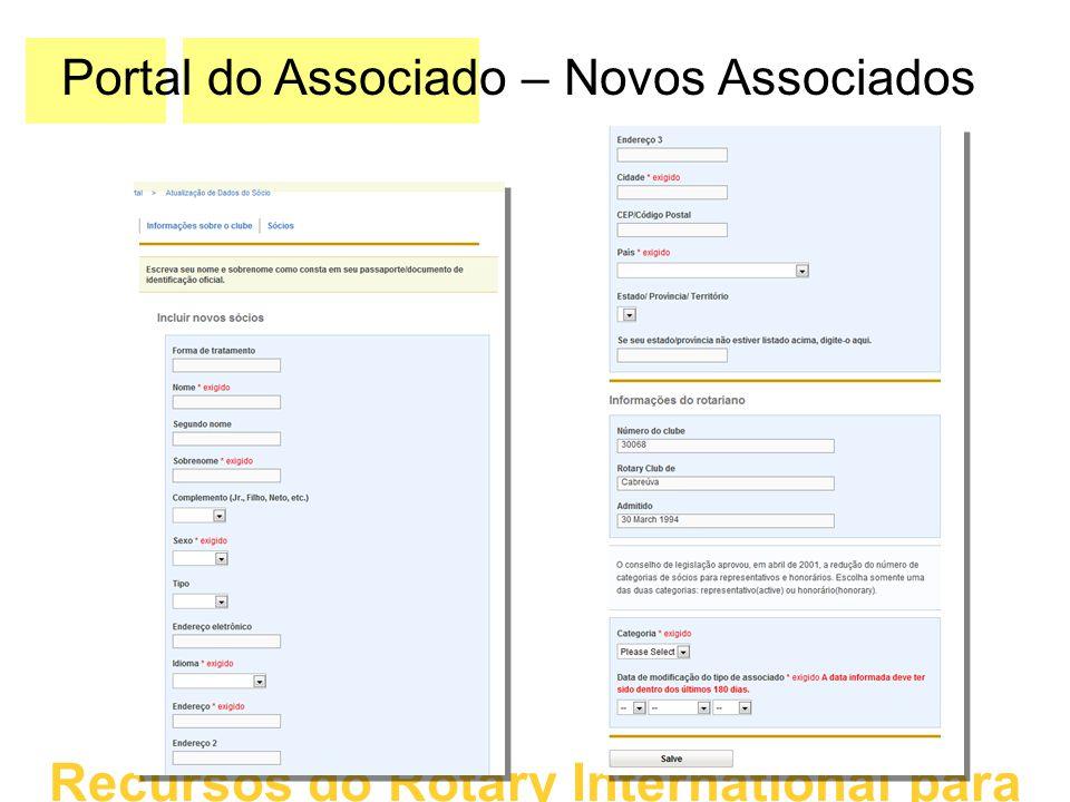 Portal do Associado – Novos Associados