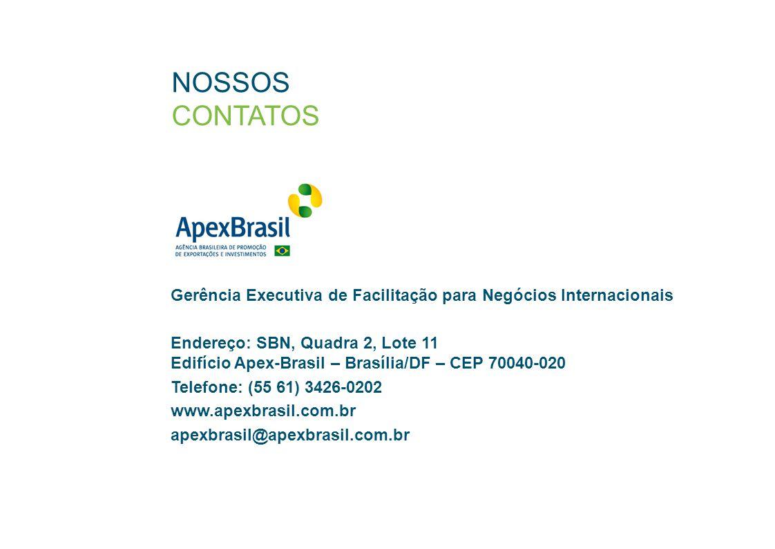 NOSSOS CONTATOS Gerência Executiva de Facilitação para Negócios Internacionais Endereço: SBN, Quadra 2, Lote 11 Edifício Apex-Brasil – Brasília/DF – CEP 70040-020 Telefone: (55 61) 3426-0202 www.apexbrasil.com.br apexbrasil@apexbrasil.com.br