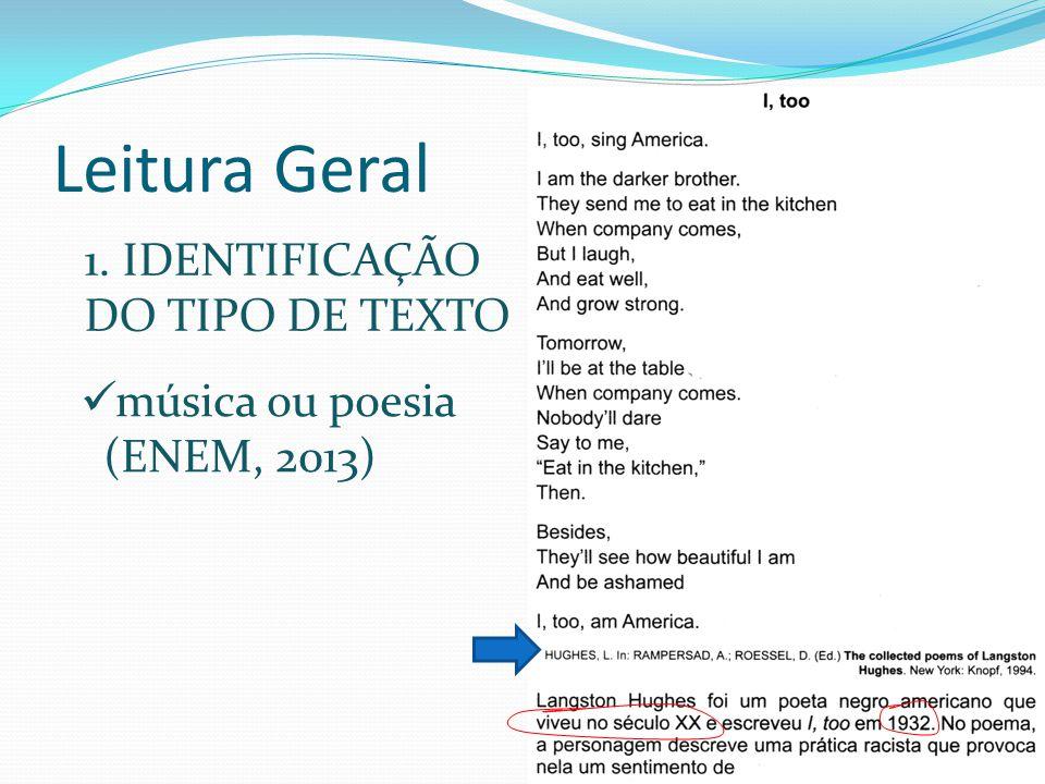 Leitura Geral 1. IDENTIFICAÇÃO DO TIPO DE TEXTO música ou poesia (ENEM, 2013)