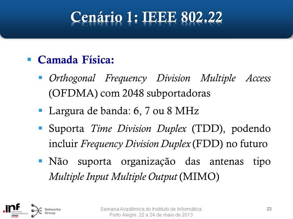  Camada Física:  Orthogonal Frequency Division Multiple Access (OFDMA) com 2048 subportadoras  Largura de banda: 6, 7 ou 8 MHz  Suporta Time Division Duplex (TDD), podendo incluir Frequency Division Duplex (FDD) no futuro  Não suporta organização das antenas tipo Multiple Input Multiple Output (MIMO) 23 Semana Acadêmica do Instituto de Informática Porto Alegre, 22 a 24 de maio de 2013