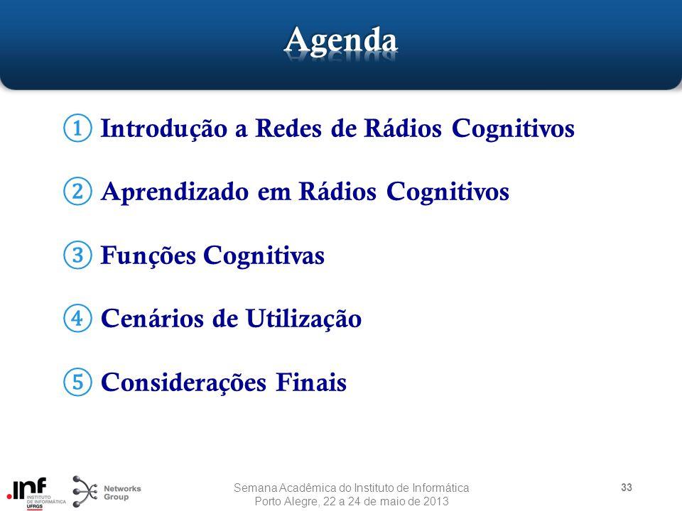 ① Introdução a Redes de Rádios Cognitivos ② Aprendizado em Rádios Cognitivos ③ Funções Cognitivas ④ Cenários de Utilização ⑤ Considerações Finais 33 Semana Acadêmica do Instituto de Informática Porto Alegre, 22 a 24 de maio de 2013
